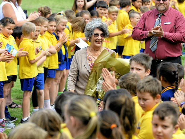 LAST DAY: Blair State School teacher Helen Connor receives a guard of honour from students after retiring after 56 years of service.