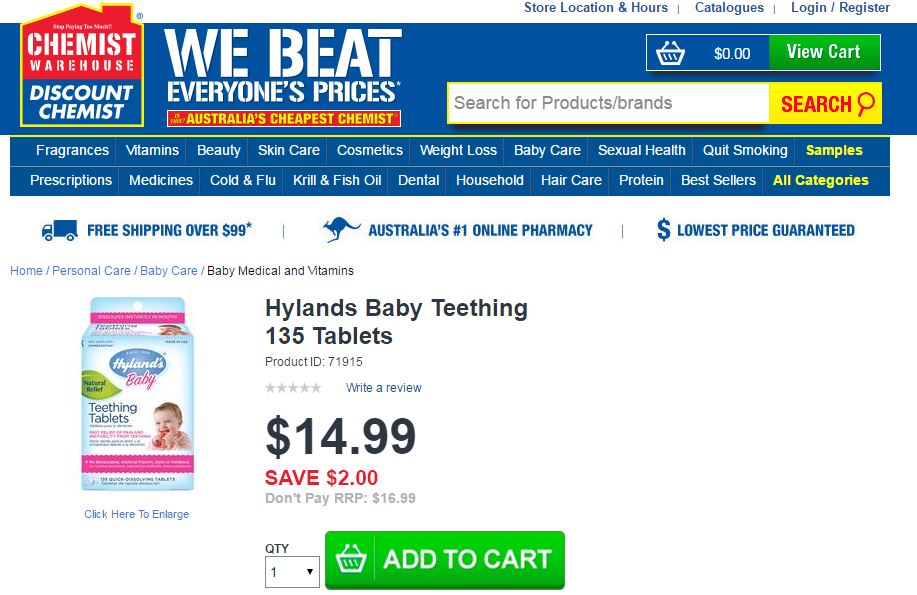 Chemist Warehouse in Australia continues to sell Hylands Baby Teething products on its website