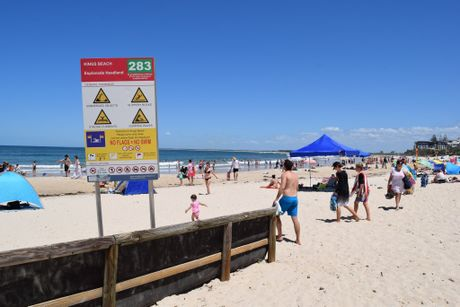 Beachgoers spread out across the sand at Kings Beach.