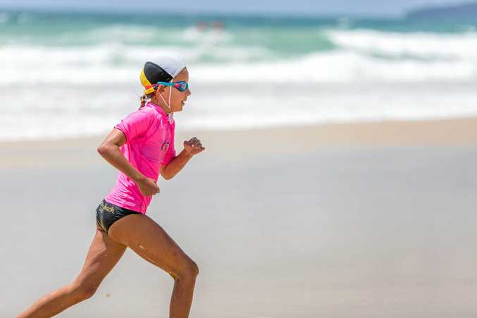 GOING STRONG: Rainbow Beach nippers competitor Emma Worthington competed for U12 girls in the season's first carnival at Rainbow Beach on Saturday.