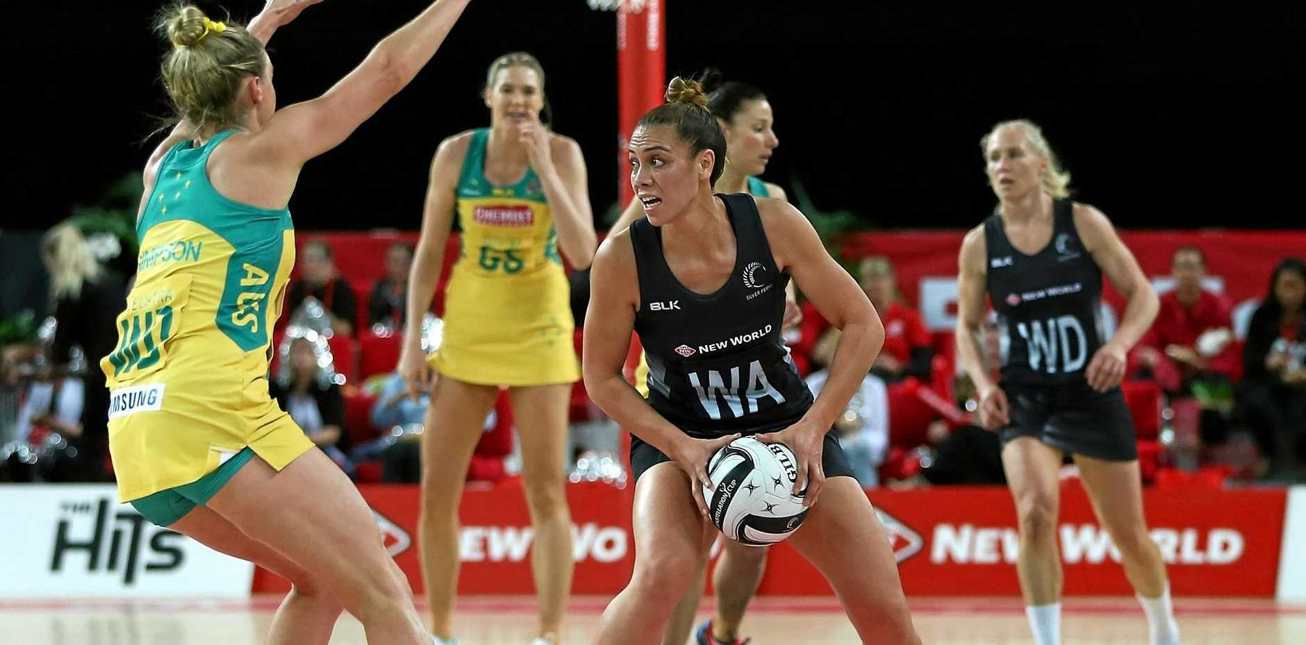 Gabi Simpson of Australia challenges Grace Rasmussen of New Zealand during game three of the Constellation Cup netball series.