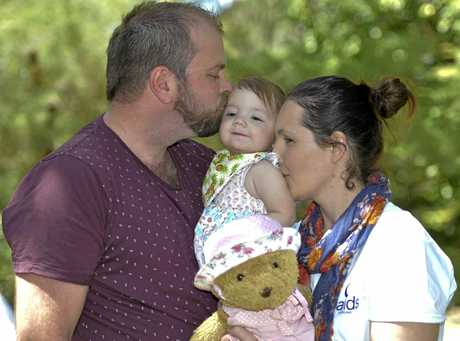 Adam Mathieson, his wife Karen Russo and their daughter Georgina Mathieson attend a Sands Australia walk for little lives lost.