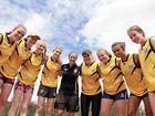 GO GIRLS: Training for spots in the Wide Bay Wildcats Under-17 Girls' AFL team are (l-r) Gracie Eadie, Grace Straub, Chloe Matheson, Brianna Duffy, assistant coach Hayley Torresan, Taylah King, Jade King, Uma Brennan and Kristi Binnie.