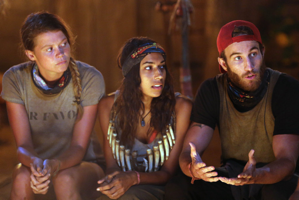 Australian Survivor contestants Flick, Brooke and Sam pictured at a recent tribal council.