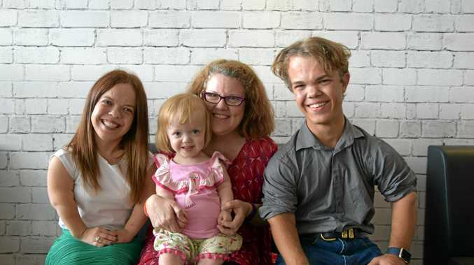 Taneya Shannen, Krysten Thompson with her daughter Maggie Allridge, 3, and Baily Connor aged 17 have banded together for Dwarfism Awareness Month.
