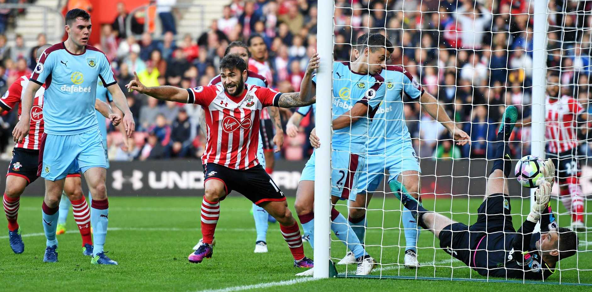 Charlie Austin of Southampton celebrates as he scores the first goal in the 3-1 win over Burnley.