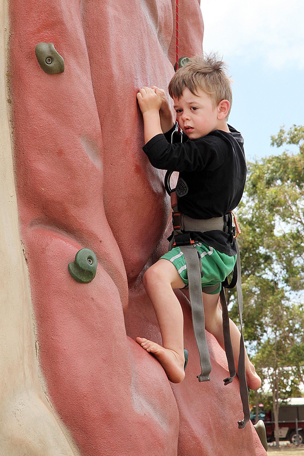 Jayde Agnew, 4, goes rock climbing.