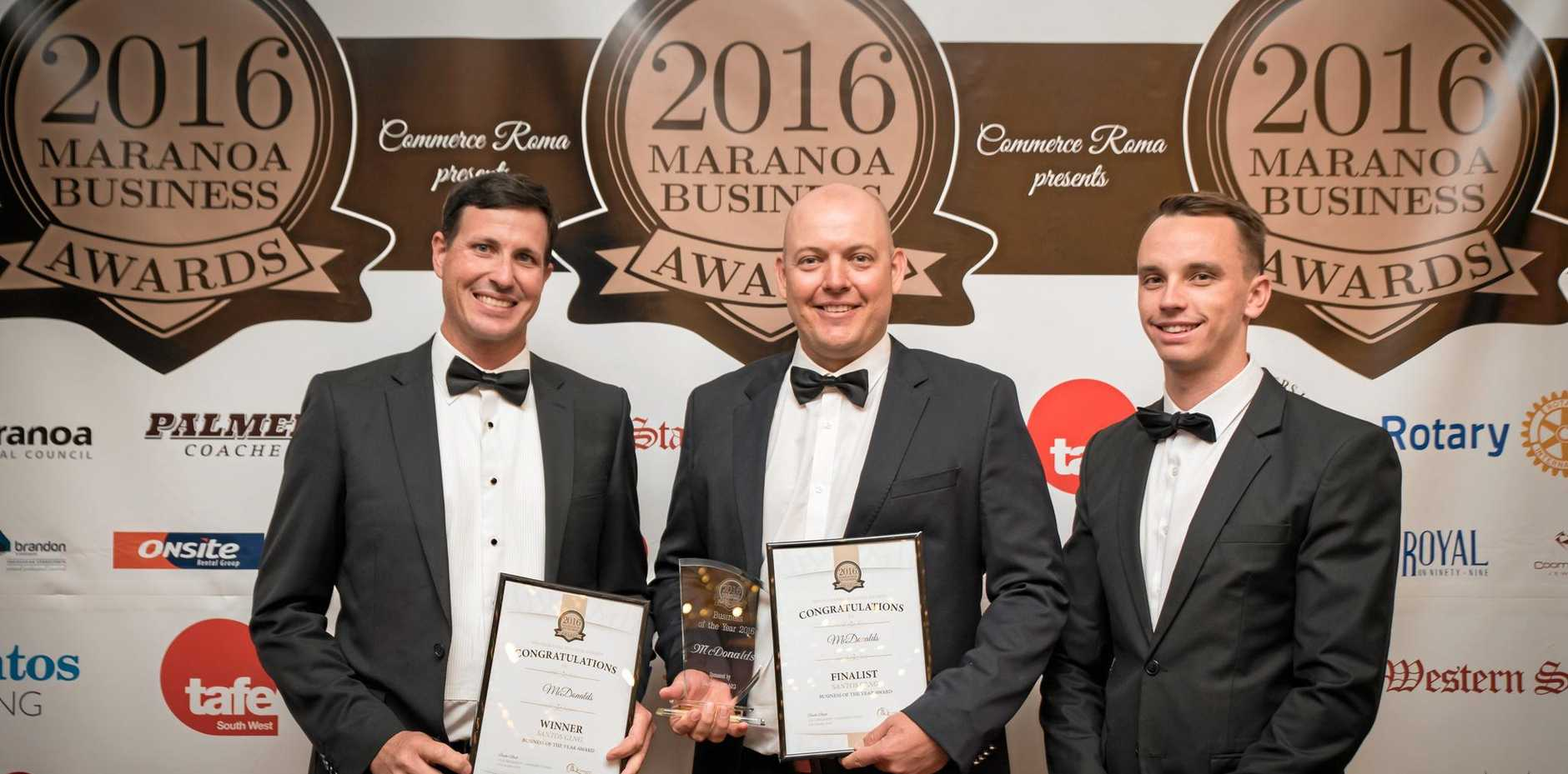 BIG WIN: Marc Benson and the team from McDonald's Roma took out three awards at the Maranoa Business Awards on Saturday, including the Business of the Year. He's pictured here with Andrew Snars and Brodie Albeck.