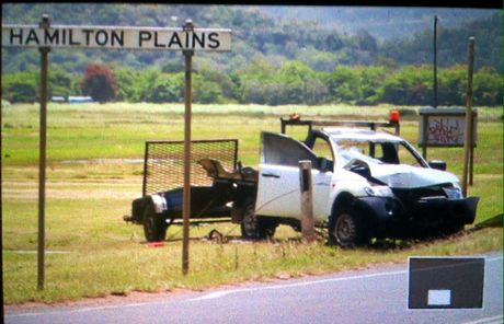 CRASH: The ute crashed into a power pole before bursting into flames yesterday afternoon. Photo: Robyn Linneweber