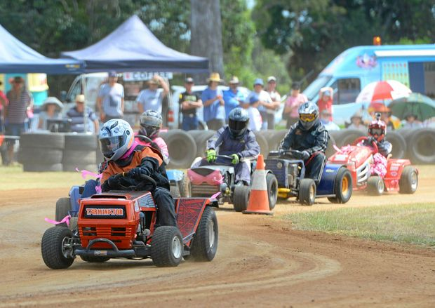 GO GIRL: Tarm Booy competing in a Big Block Grade heat during round 9 of the Queensland Mower Racing Championships in Yaamba on Sunday.