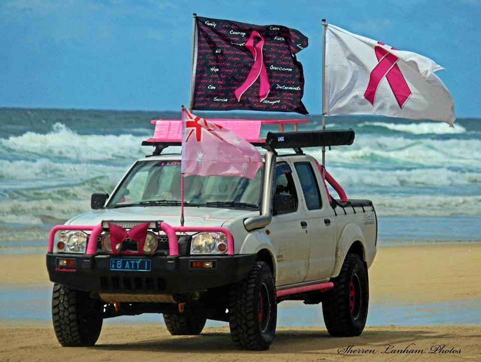 PRETTY IN PINK: One of the hundreds of vehicles that took to Teewan Beach to raise awareness and funding for breast cancer research.