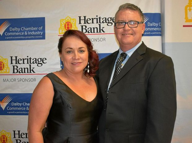 BUSINESS EXCELLENCE AWARDS: Dalby Chamber Member Services Manager Trudi Bartlett with president Rohan May.