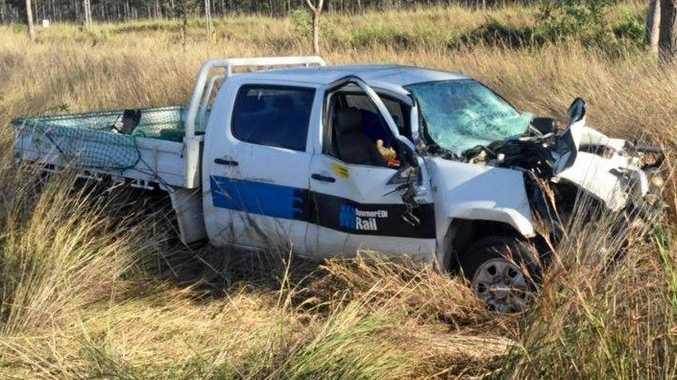 UTE crash at road works on Gladstone - Mt Larcom Rd.