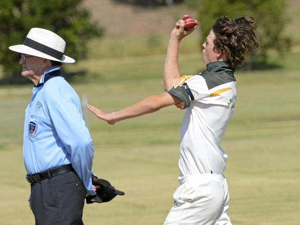 SPEED DEMON: Wanderers' bowler Dylan Causley tore through the Lawrence batting line-up clinching four wickets opposite bowling partner Brandon Honeybrook.