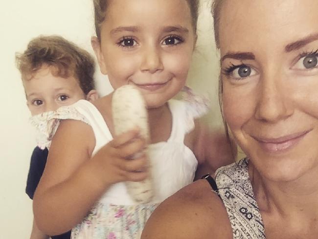 Brisbane mother Sally Faulkner with her children.