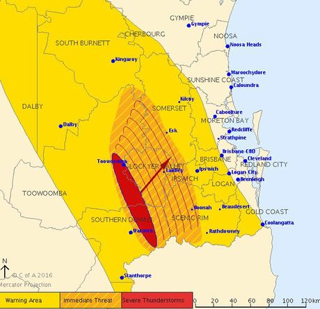 A severe thunderstorm warning issued by BOM.