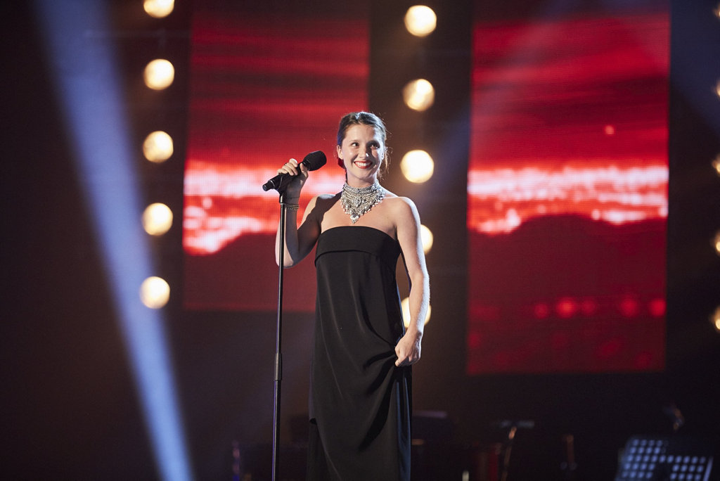 Bundaberg singer Ruby Mills pictured during the three-seat challenge on The X Factor.