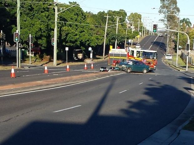 TRAFFIC CRASH: Emergency Services were called to a crash on the corner of Green and Brisbane Sts Booval.