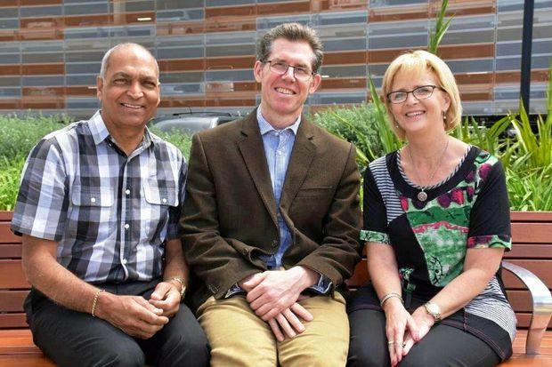 PAIN FREE: Coffs Coast local Joe Grewal with Dr Charles Brooker and Deb Morales.