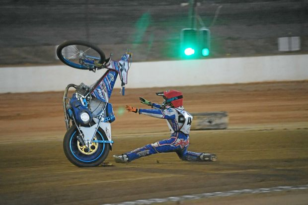 HIGH POWER: Jedd List loses his bike on the bend at Carina Speedway Bundaberg.