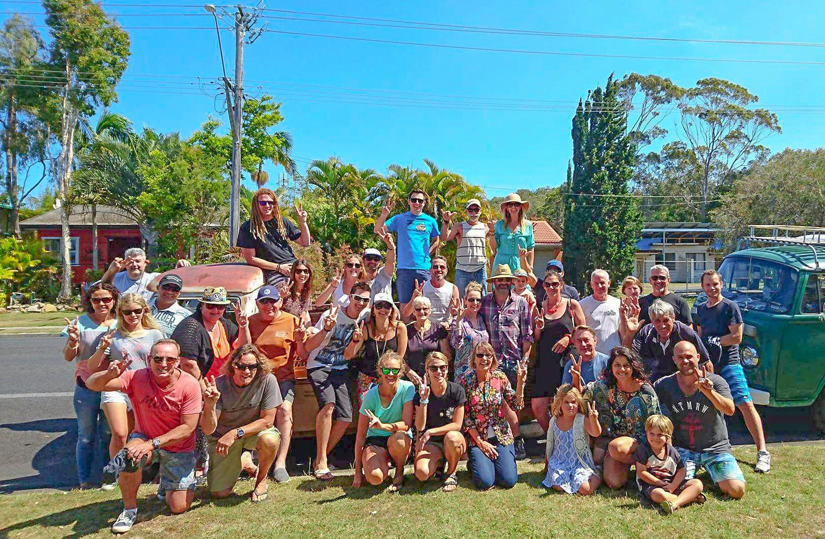 PEACE: Participants in the Surfing the Coldstream Kombi display.