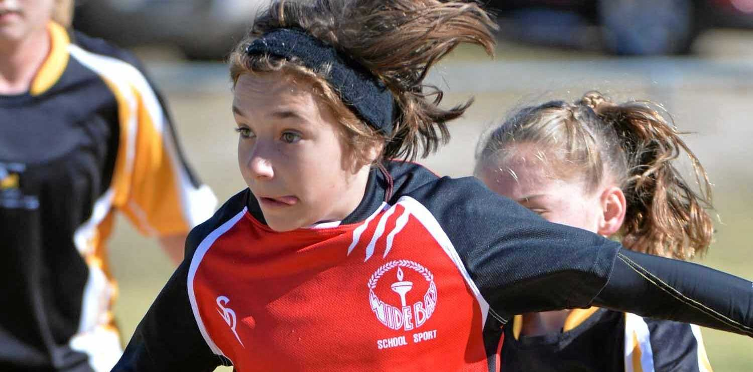 Maddie in action for Wide Bay atthe Under-13 State titles in Stanthorpe.