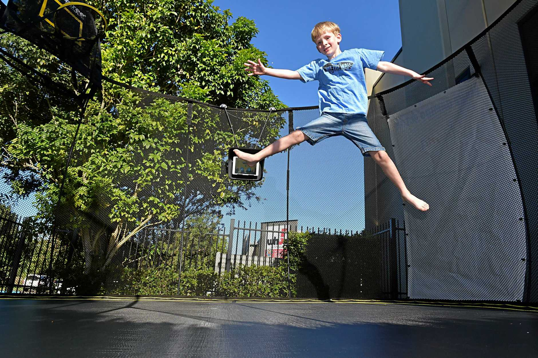 AIR TIME: Lewis Fretwell tests out the new 'Smart Trampoline'.