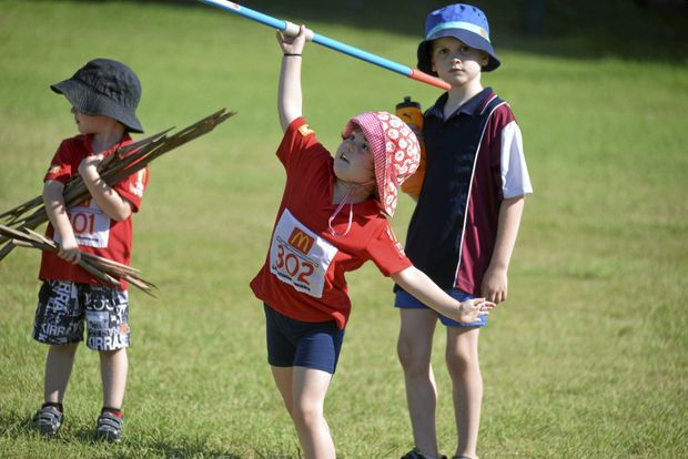 HAVING A GO: Claire Fitzgerald goes long with the javelin at the Warwick Little Athletics Centre.