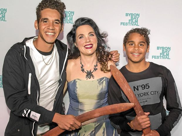 OPENING NIGHT: Zac and Bailey Doomadgee with Byron Bay Film Festival director J'aimee Skippon-Volke