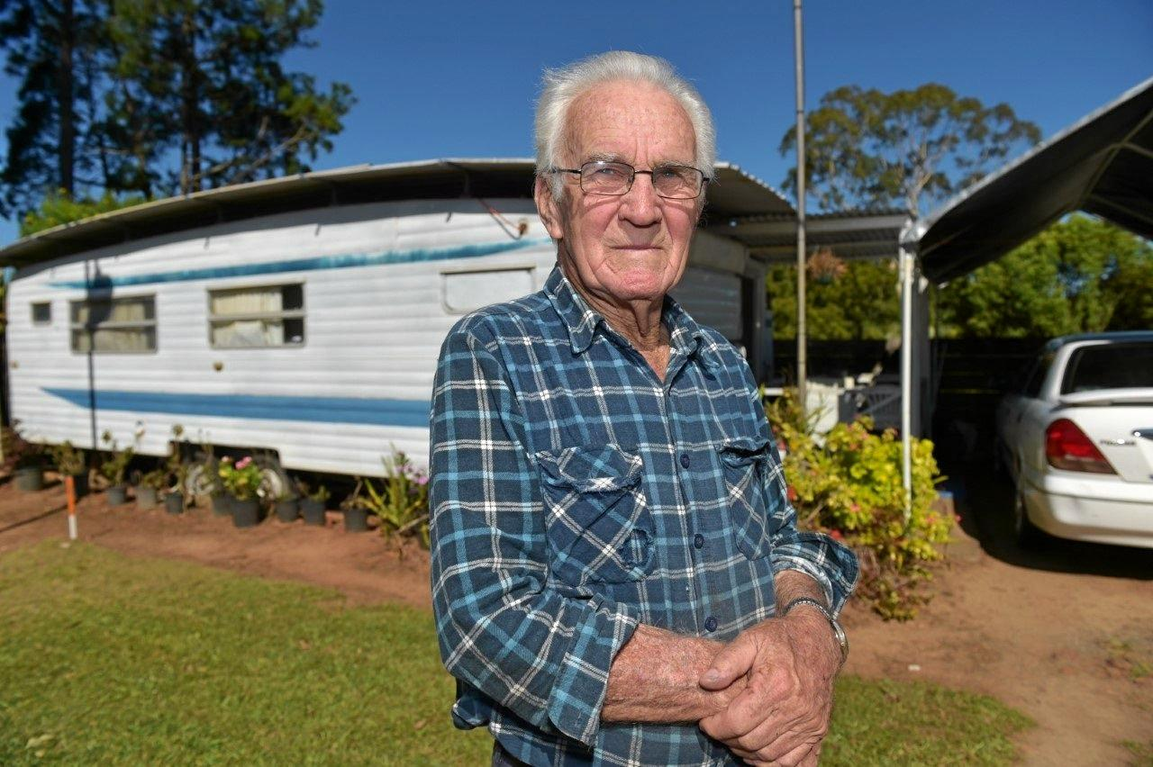 83-year-old pensioner and former mechanic Walter Wallace was shocked to receive a notice on Friday he has two months to vacate his Woombye Caravan Park site.