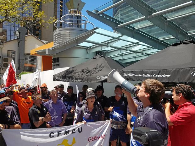 German Creek CFMEU members and Mirani Labor MP Jim Pearce protest outside mine owner Anglo American's Brisbane offices.