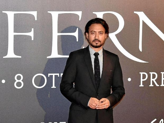 Indian actor and cast member Irrfan Khan poses for photos during the premiere of the movie Inferno, directed by Ron Howard, at the Opera House in Florence, Italy.