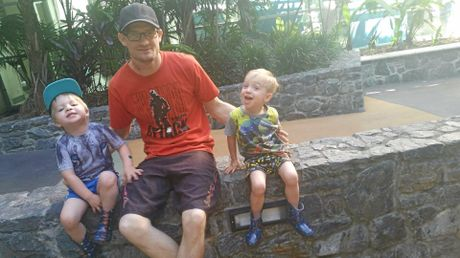 LIFE CHANGED: Toowoomba father Tim Wilson with his children Eddie (left) and Archie just four days after his kidney transplant.