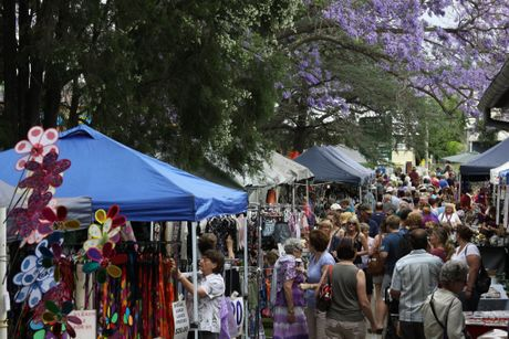 TAFE Markets at Grafton TAFE: A huge crowd gathered underneath the Jacaranda trees, at the Grafton TAFE markets on Saturday. Photo: Lynne Mowbray/The Daily Examiner