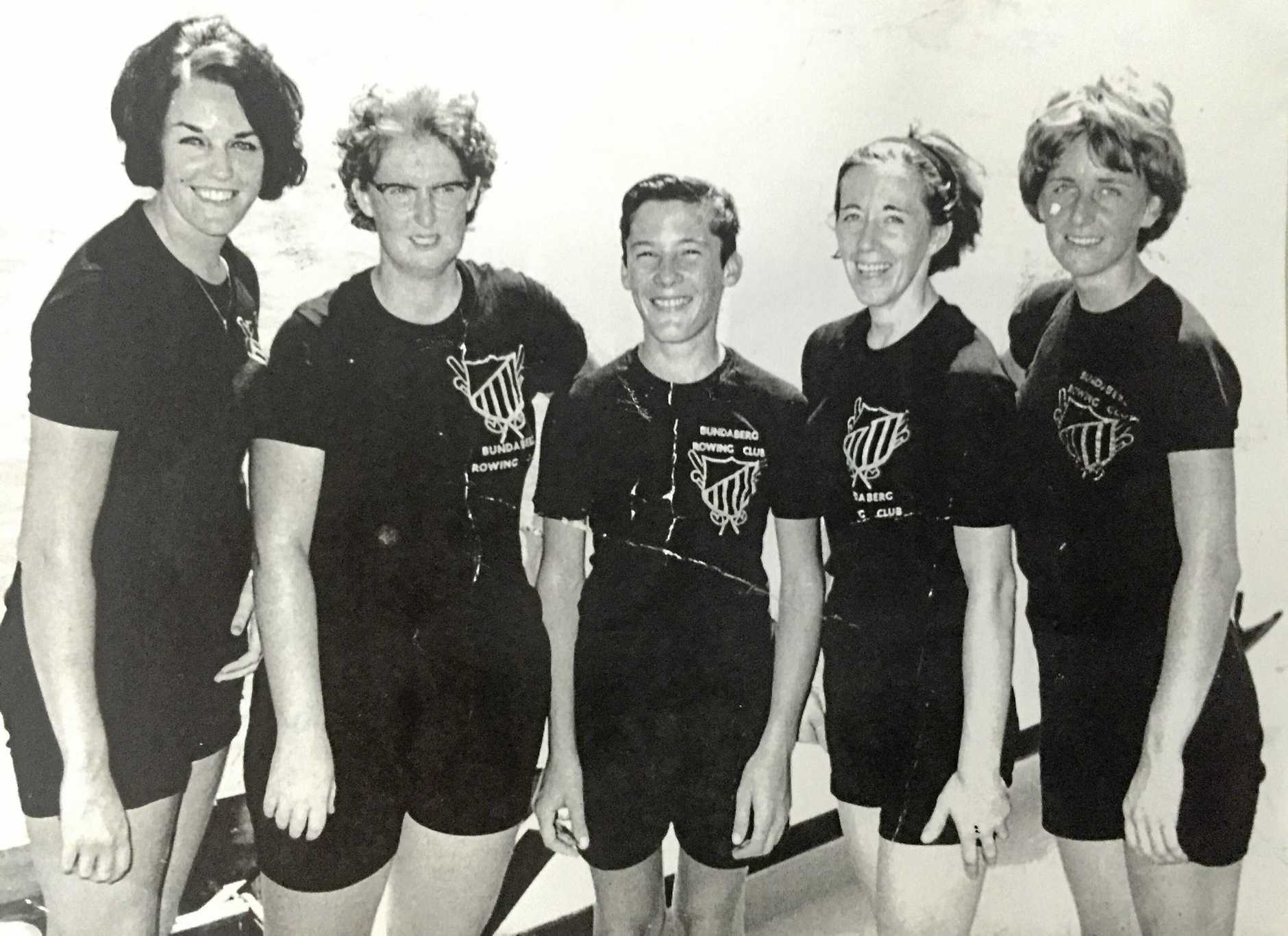 1967: Dianne Royan, Arlene Emerick, Greg Sauer, Rhonda Smith and Jenny Sauer at the Australian Championships in Sydney. Photo Contributed