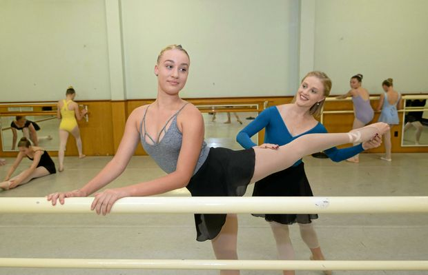 L-R Taliah Edwards being coached by Tamara Hanton from Queensland Ballet conducting a workshop at Beverley Prange Dance Centre in Rockhampton.