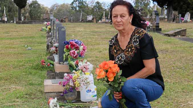 OVERGROWN: Kathy Durrant has expressed concerns over the maintenance of the Laidley Cemetery. INSET: Overgrown grass and weeds at the cemetery.