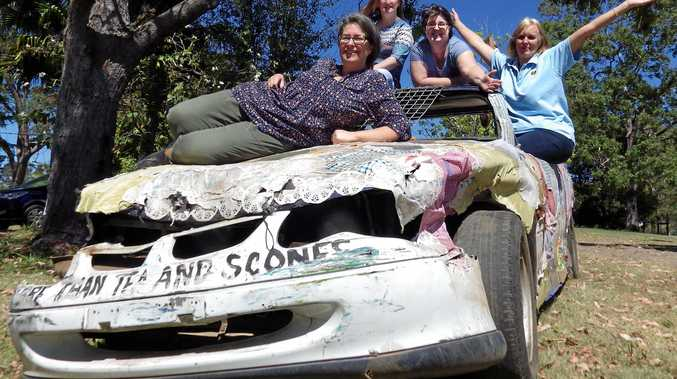 SMASH 'EM UP: CWA Kyogle   evening branch   took part in the demolition derby at the Kyogle Show. On bonnet: Odette Nettleton, back: Jackie Horder, Maggie May and Anne Kotz.