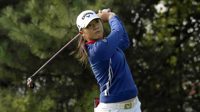 Lydia Ko of New Zealand watches her shot on the fourth hole during the third round of the LPGA KEB Hana Bank Championship in South Korea.