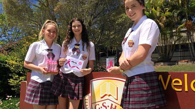 TAKE YOUR MARKER: Gympie State High students (from left) Ebony Clough, Cristy Kraan and Ella Findlay are raising money to fight breast cancer through their Breast Cancer Bingo on Sunday.