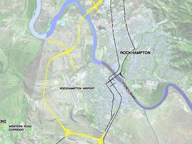 RING ROAD: The proposed route for a western bypass at Rockhampton. INSET: New equipment makes loading and unloading freight easier at Rockhampton Airport, seeing it completed in less time than it takes to refuel a plane.