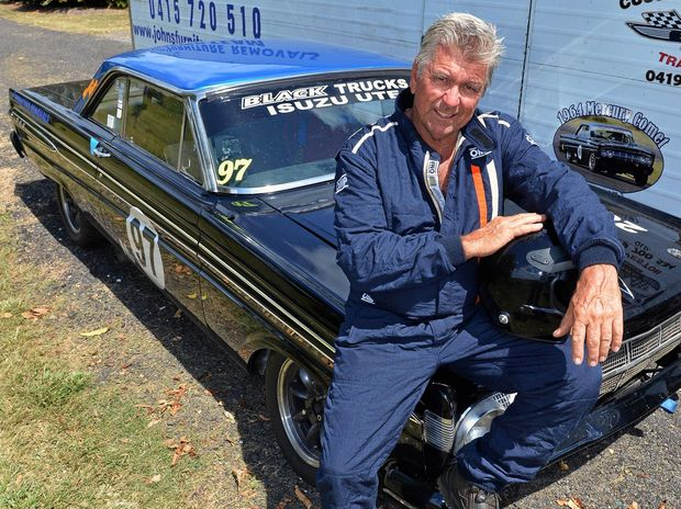 "Racing driver Allen 'Cusso"" Boughen with his 1964 Mercury Comet, which has been undergoing improvements to get up to speed in its new class."