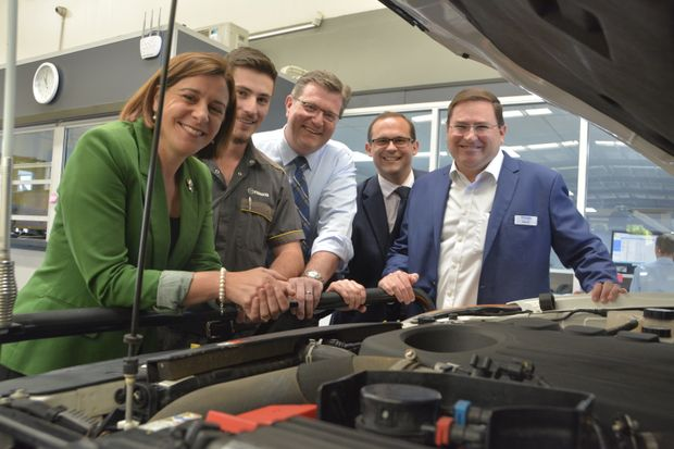 Celebrating jobs for the Toowoomba region are (from left) Deputy Opposition Leader Deb Frecklington, Wippells Autos apprentice Fergus Richters, Toowoomba North MP Trevor Watts, Toowoomba South MP David Janetzki and Wippells Autos dealer principal David Russell.