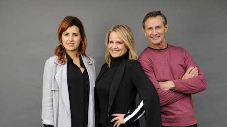 Shaynna Blaze, centre, hosts the TV series Deadline Design with help from emerging designer Yasmine Ghoniem and builder Mike Griggs.