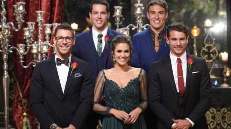 The Bachelorette Georgia Love pictured with her final four bachelors, from left, Lee, Jake, Courtney and Matty J.