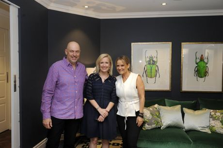 Shaynna Blaze pictured with homeowners Peter and Debbie in a scene from the TV series Deadline Design.