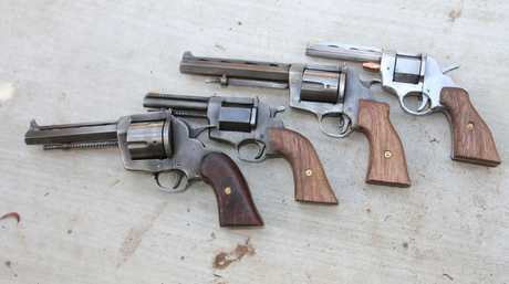 Four weapons which were seized during 14 raids across Toowoomba, the Lockyer Valley and Ipswich.