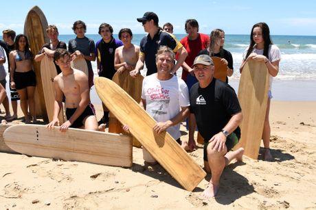 MASTER SHAPER: Surfboard shaper Tom Wegener and Phil Moller at Nielson Park Beach.