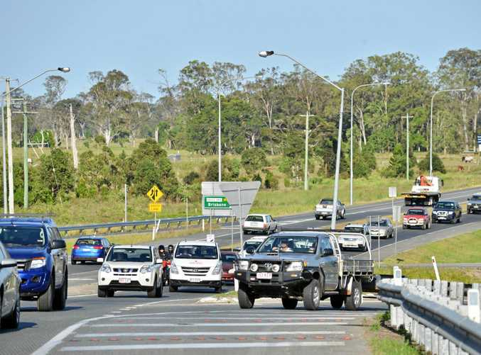 Traffic on Caloundra Road, Caloundra, Bruce Highway merge.