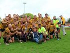 HAPPY HAWKS: Coach Andrew Schmidt celebrates with the Gatton Hawks players after guiding the club to twin premierships in the Reserve Grade and Second Division of the 2016 Toowoomba Rugby League competition.